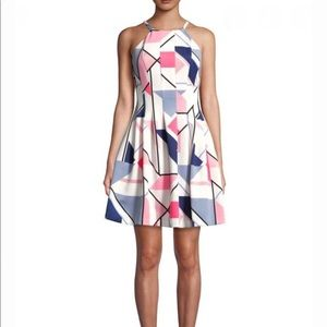 Vince Camuto Geometric Printed Fit-&-Flare Dress